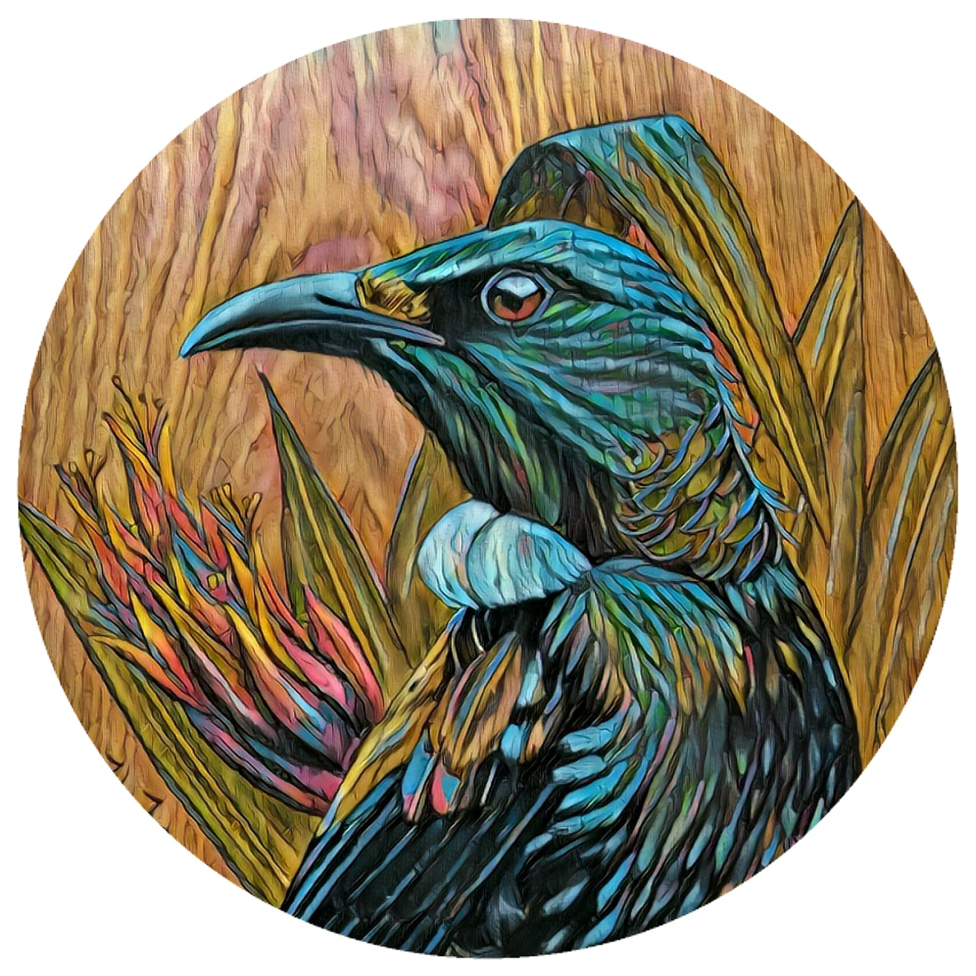 TUI IN FLAX UPON TIMBER REWORKED ART DOT 280MM DIAMETER via @chooicenz