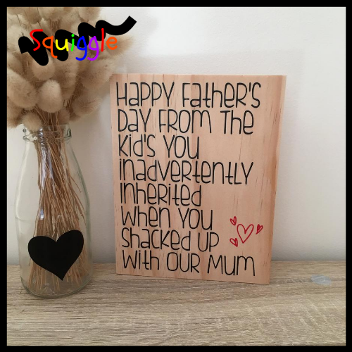 Happy Fathers Day (for Stepdads) – wooden block via @chooicenz