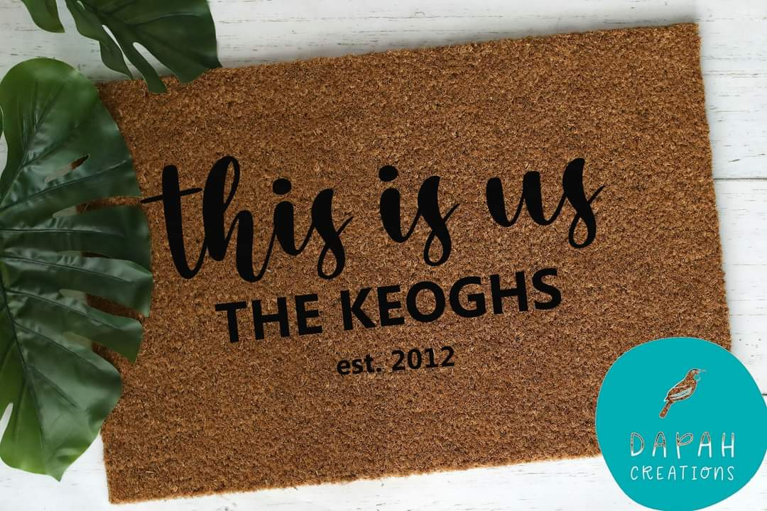 """""""This is Us"""" – Personalised with name and EST Coir Door Mat via @chooicenz"""