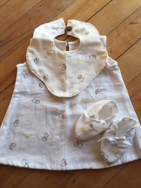 Baby outfit, dress, overpants, bib and soft shoes. via @chooicenz