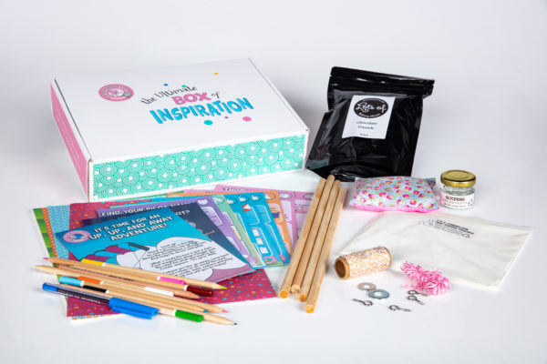 UP, Up, and Away! Inspiration Box unpacked, with sticks, string, paper, pencils, activities, games and more