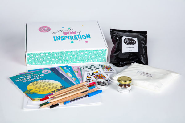 Treasure Island Inspiration Box unpacked, with cards, paper, pencils, activities, games and more