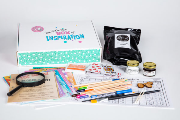 Secret Agent Mission Inspiration Box unpacked, with cards, paper, pencils, activities, games and more
