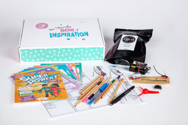 Super Power! Inspiration Box unpacked, with electronics, paper, pencils, activities, games and more