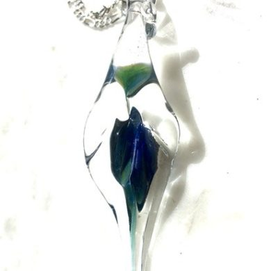 Sterling Silver Clear & Blue Glass Lily Pendant