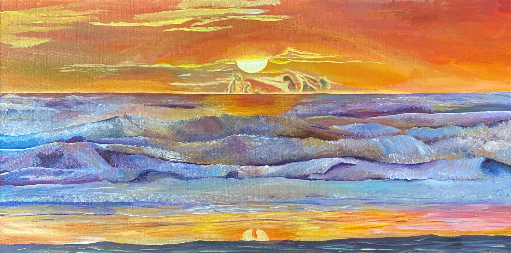 Crashing Thoughts – Giclée Print of sunset over west coast waves – from acrylic on canvas original via @chooicenz