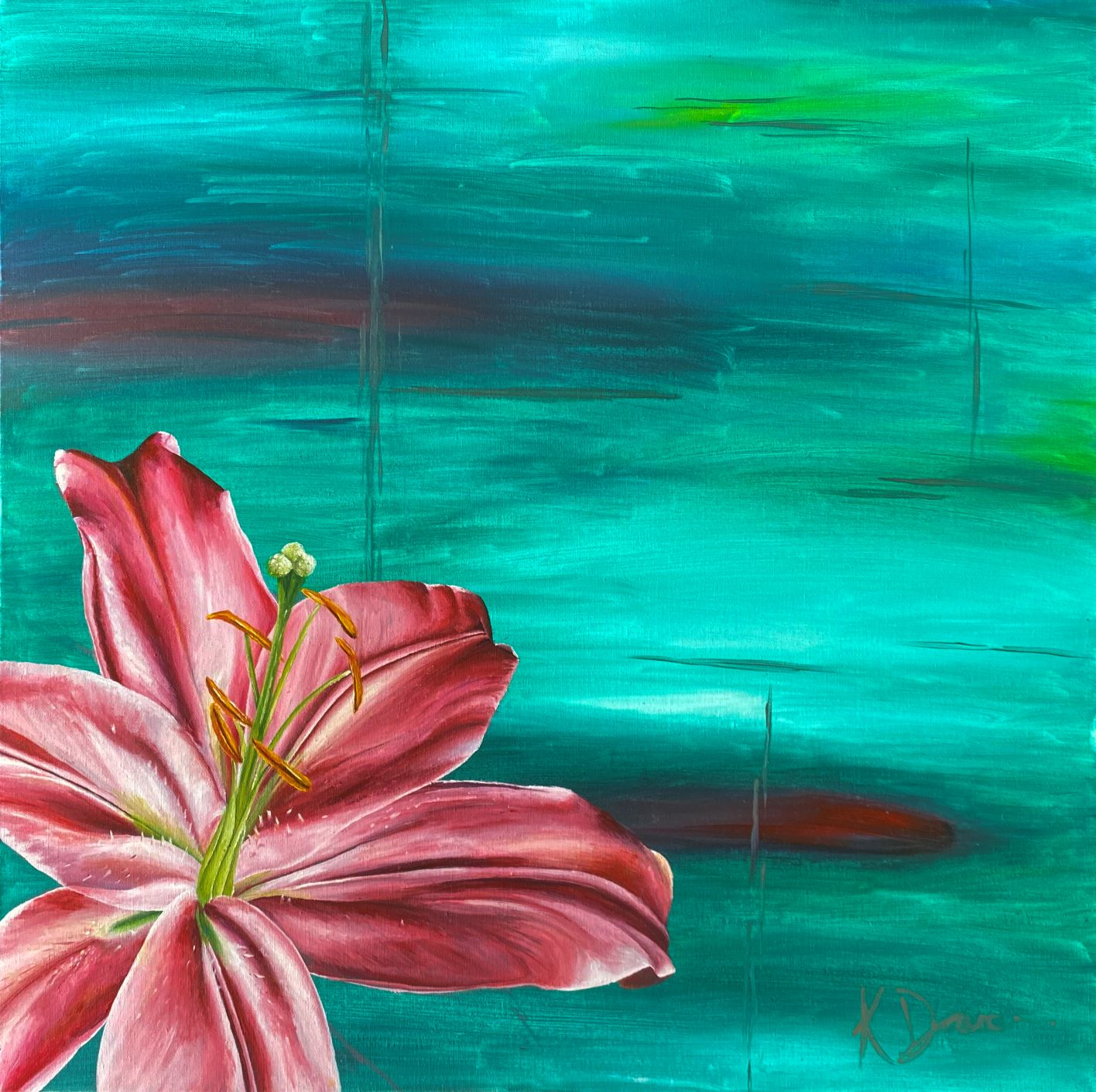 Lily Burst – Giclée Print of pink lily from an acrylic on canvas original via @chooicenz