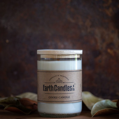 cooks candle wine bottle earth candle
