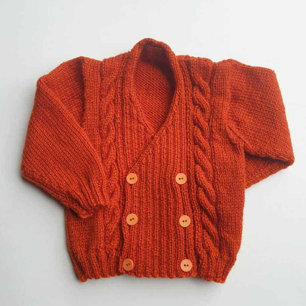 9-12 Months Hand Knitted Cross-Over Cardigan via @chooicenz