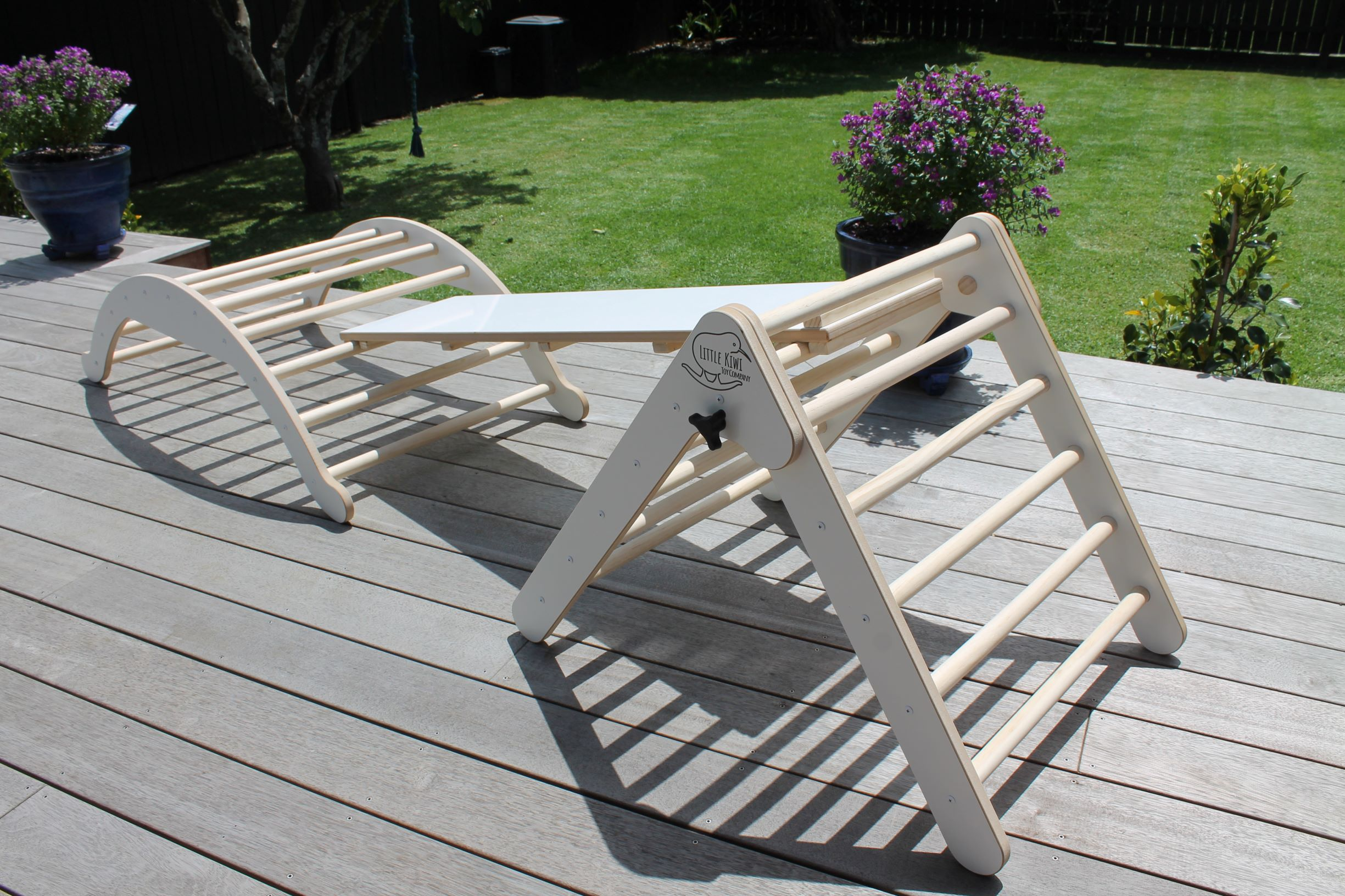 Little Kiwi Pikler Triangle, Arch and Climbing Ramp Combo -White via @chooicenz