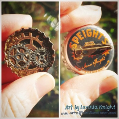Steampunk, bottle cap resin badge/pin - made in New Zealand, from recycled bottle caps