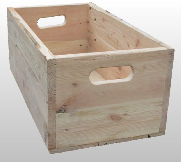 Wooden box with slot handles