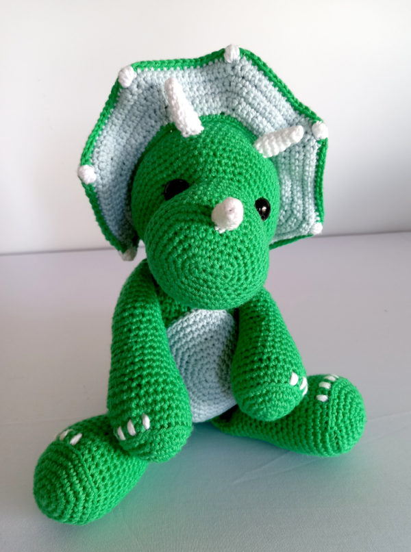 Crocheted Green Triceratops