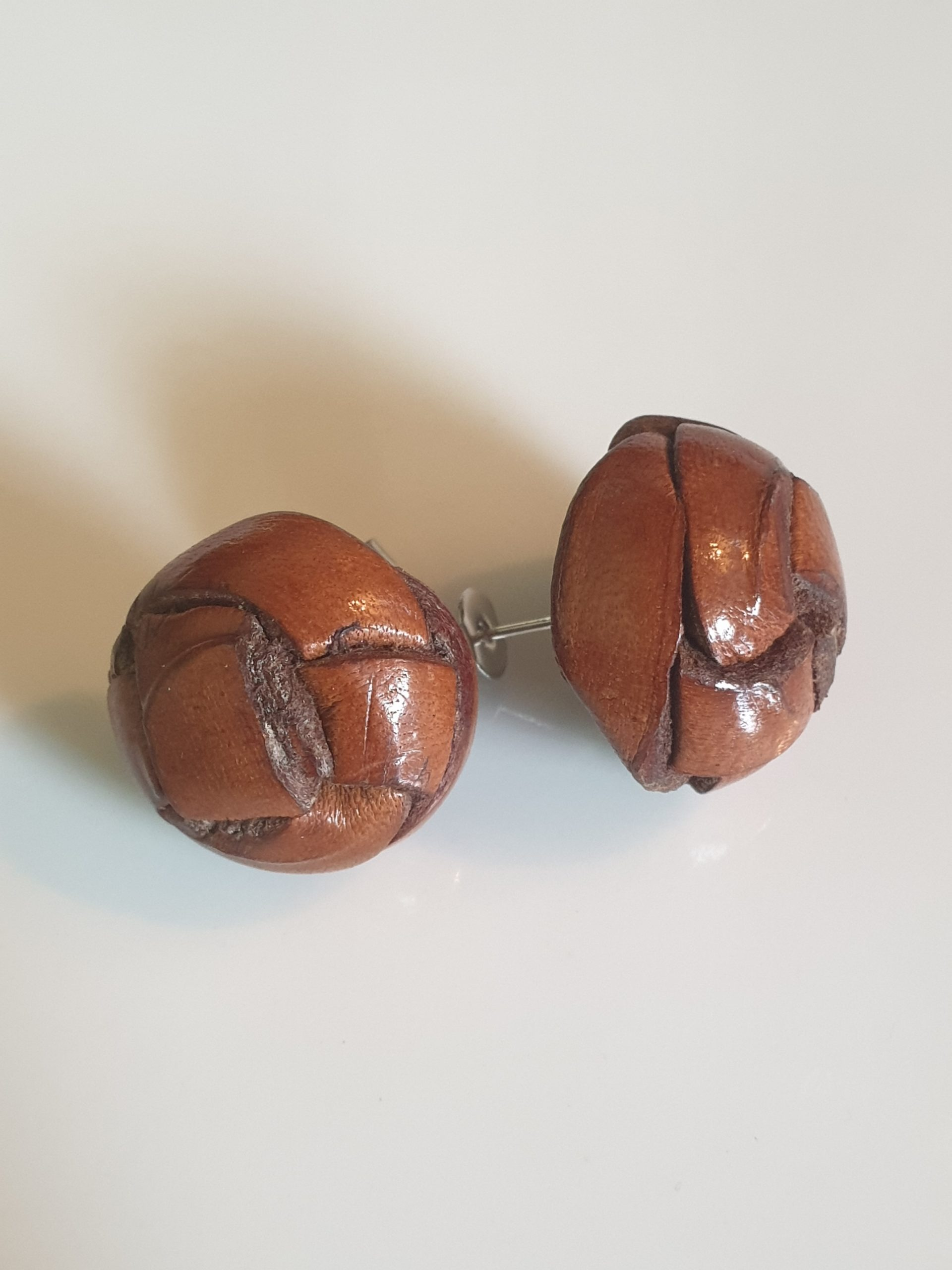 Leather Button Earrings Large via @chooicenz