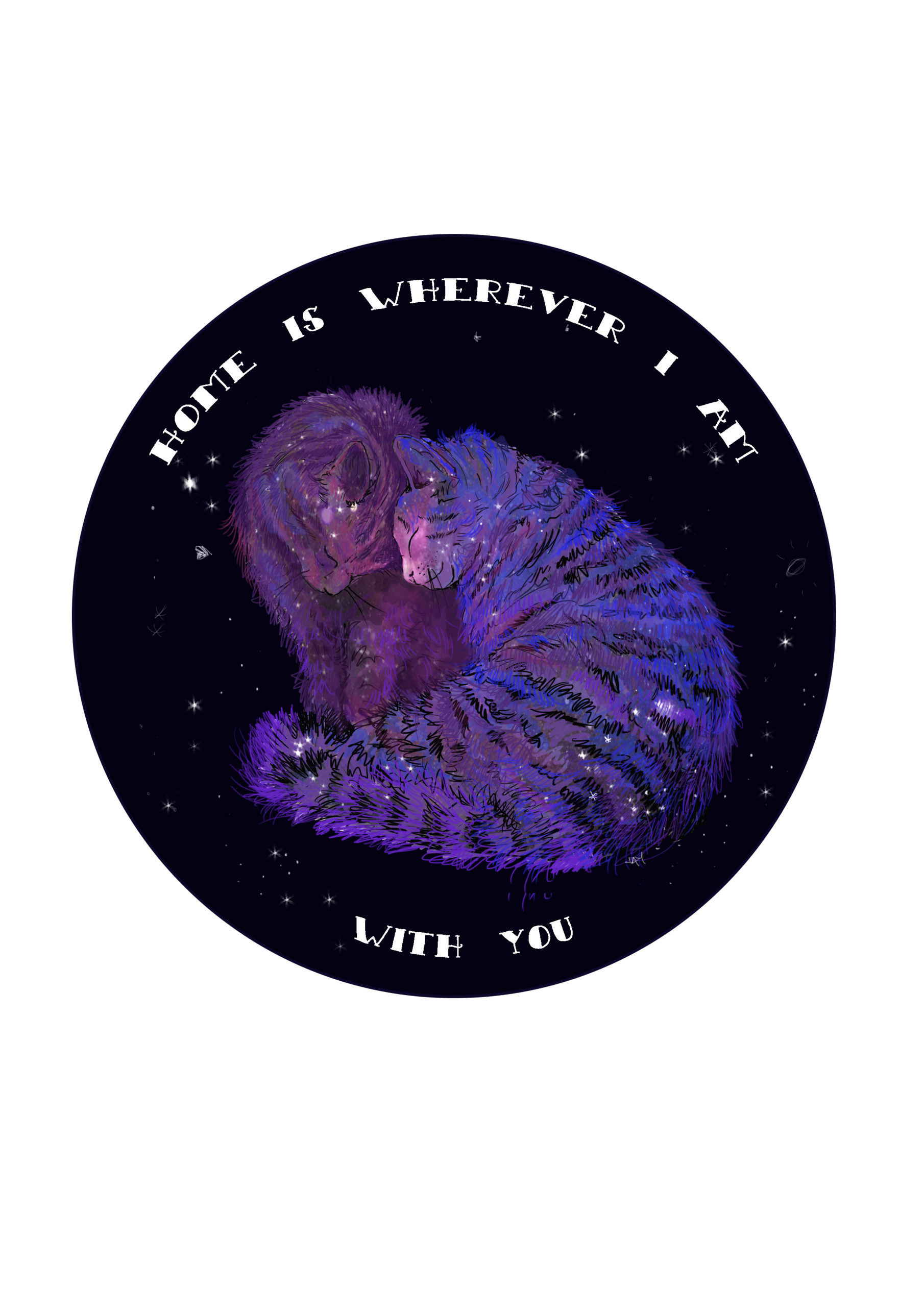 Space cats. Home is wherever I am with you – A4 art print via @chooicenz