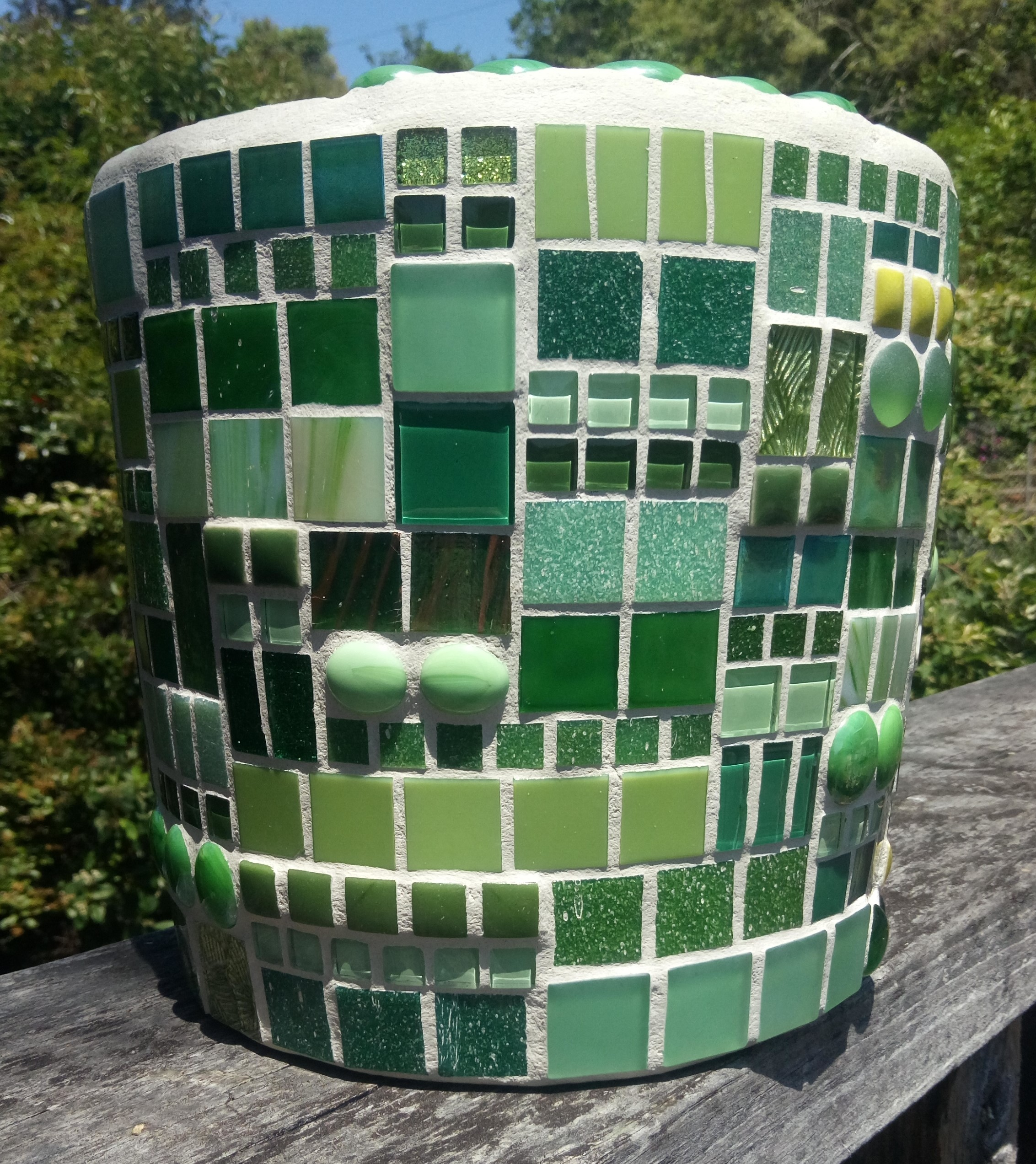 Mosaic Planter in Patchwork Pattern in Greens (Free Shipping) via @chooicenz