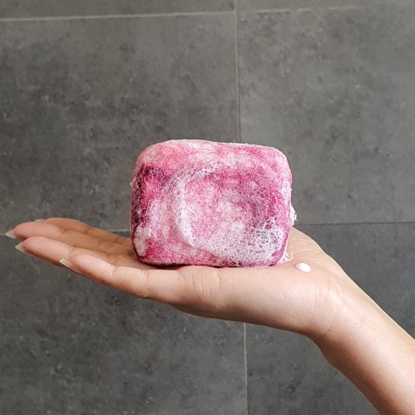berry crush felted soap in shower