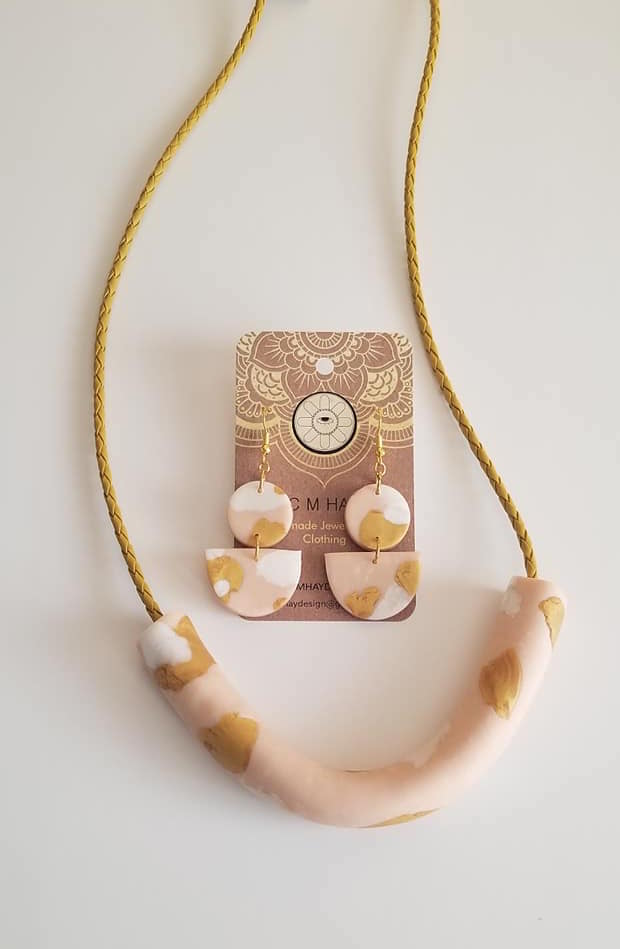 Minimalist tube necklace and earring set in flesh, white and gold tones via @chooicenz