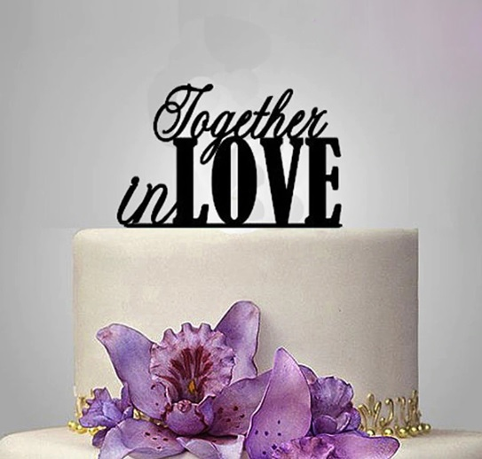 """Black """"together in love"""" cake plaque/topper via @chooicenz"""