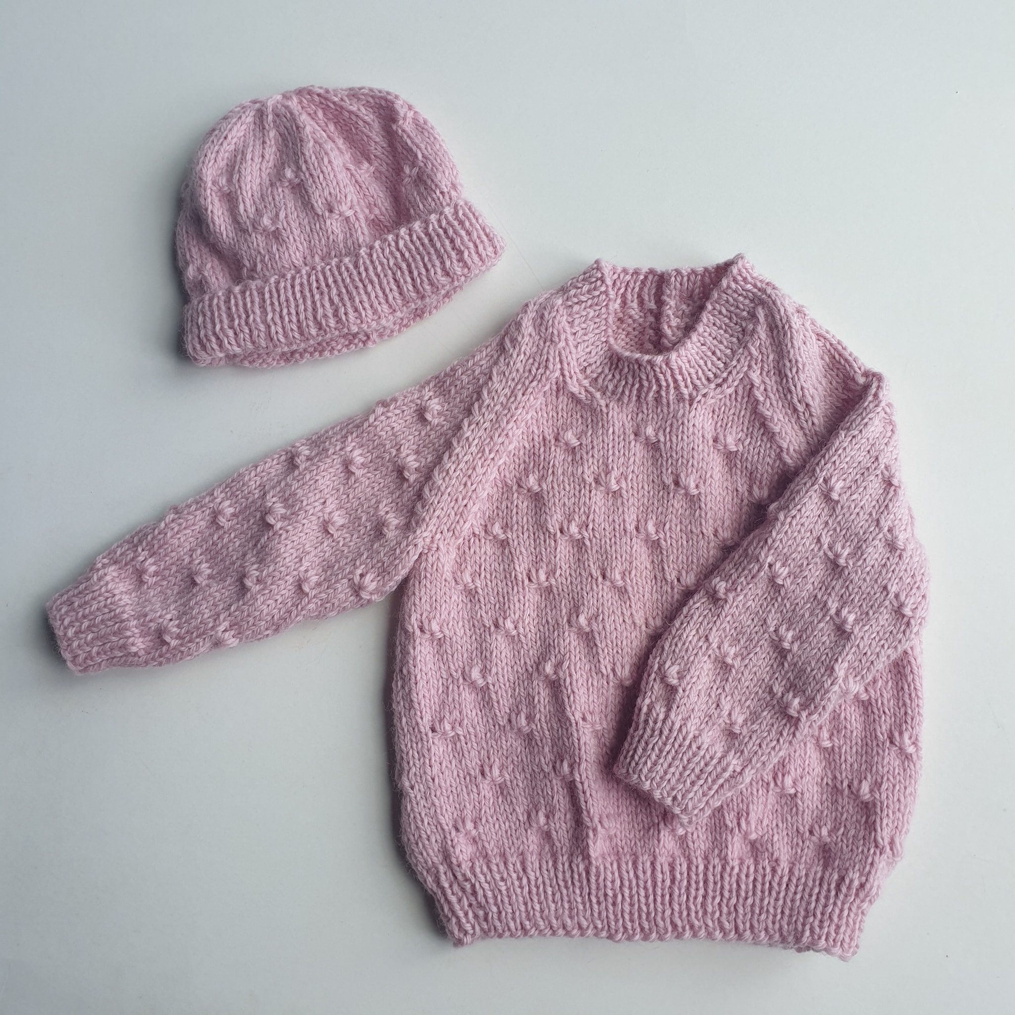 3-6 Months Hand Knitted Pink Jersey and Beanie Set via @chooicenz