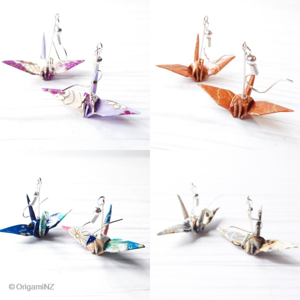 CHOOSE YOUR OWN COLOR; Origami Earrings | Traditional Paper Crane via @chooicenz