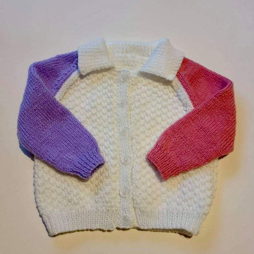 12 Months Lovely White Collared Cardigan With Coloured Sleeves via @chooicenz