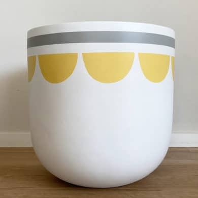 Large Plant Poit with Bloom Design with Yellow, Grey and White