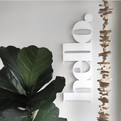 white metal hello word NZ made by LisaSarah